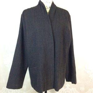 Eileen Fisher Dark Brown Snap Close Wool Blazer L